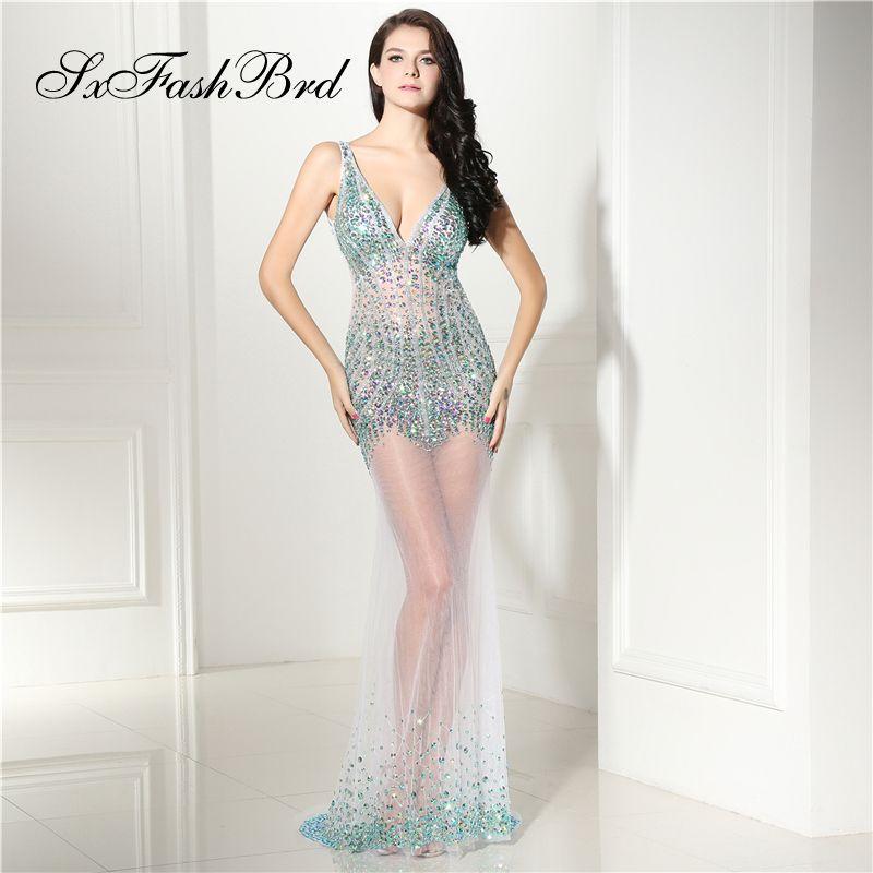 Элегантные девушки платье V шеи открытой спиной Русалка акцентированные крупные кристаллы тюль длинные партии вечерние платья для женщин платье выпускного вечера платья