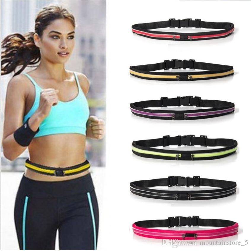 Unisex Deportes al aire libre Bum Bag Running Belt Waist Pack Viajes Zip Pouch Money Phone antirrobo Pack Belt Sport Bag con 2 bolsillos (al por menor)