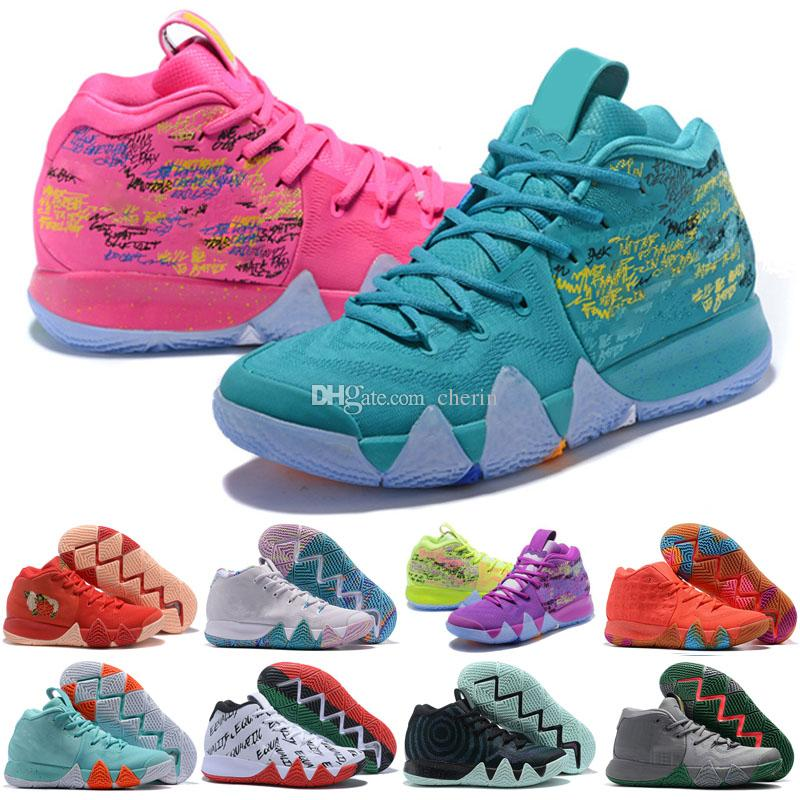 2018 New Basketball Shoes For Women Kids Irving IV 4 Lucky Charms Multicolor Black Moon Red Flower Sports Training Sneakers Shoe