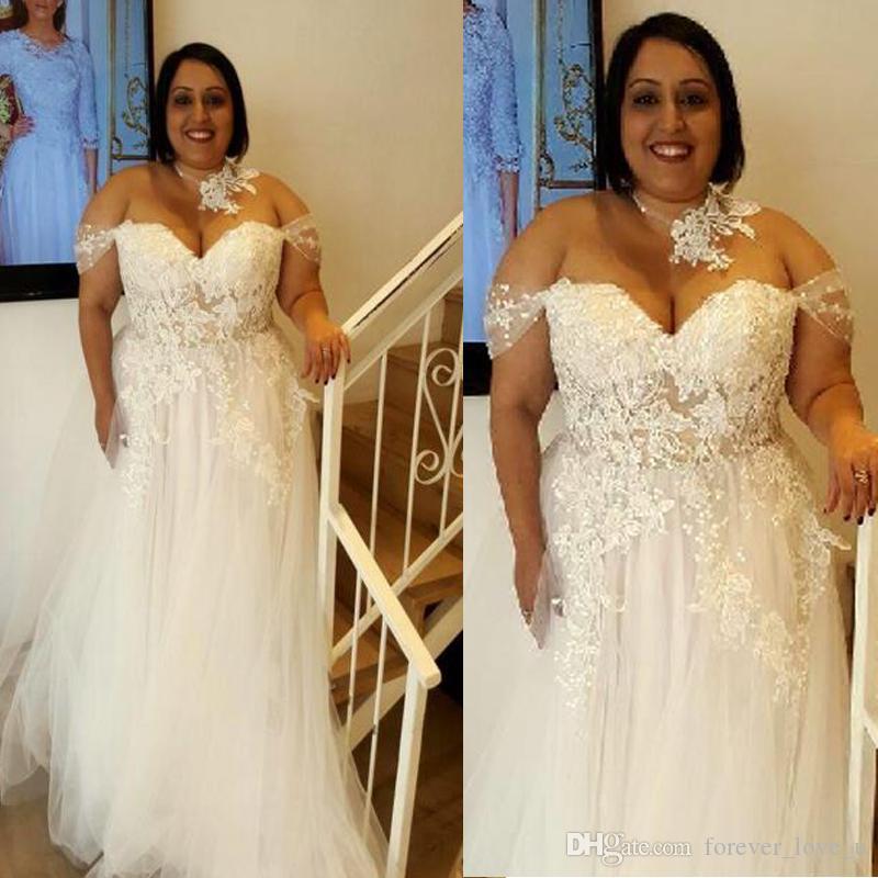 Plus Size Suknie ślubne Off Ramię A-Line Tulle Koronki Appliqued Sexy Illusion Patrzeć przez duże kobiety tanie suknie ślubne