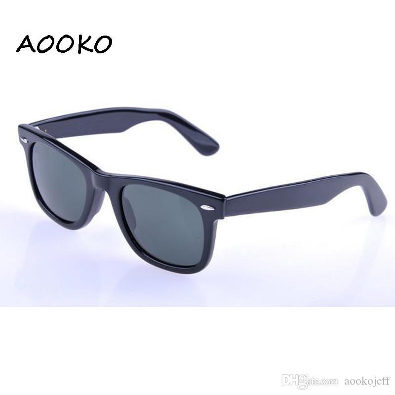 AOOKOjeff Hot Men Glass Grey lente verde oscuro Gafas de sol Protección UV exterior Mujeres gafas de sol masculino Gafas de sol 50/52 / 54mm