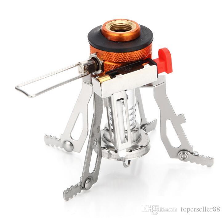 Attrezzatura da campeggio in lega ultraleggera Fornelli Fornelli a gas Fornello da esterno Stufa esterna Mini stufe a gas Picnic portatile in miniatura