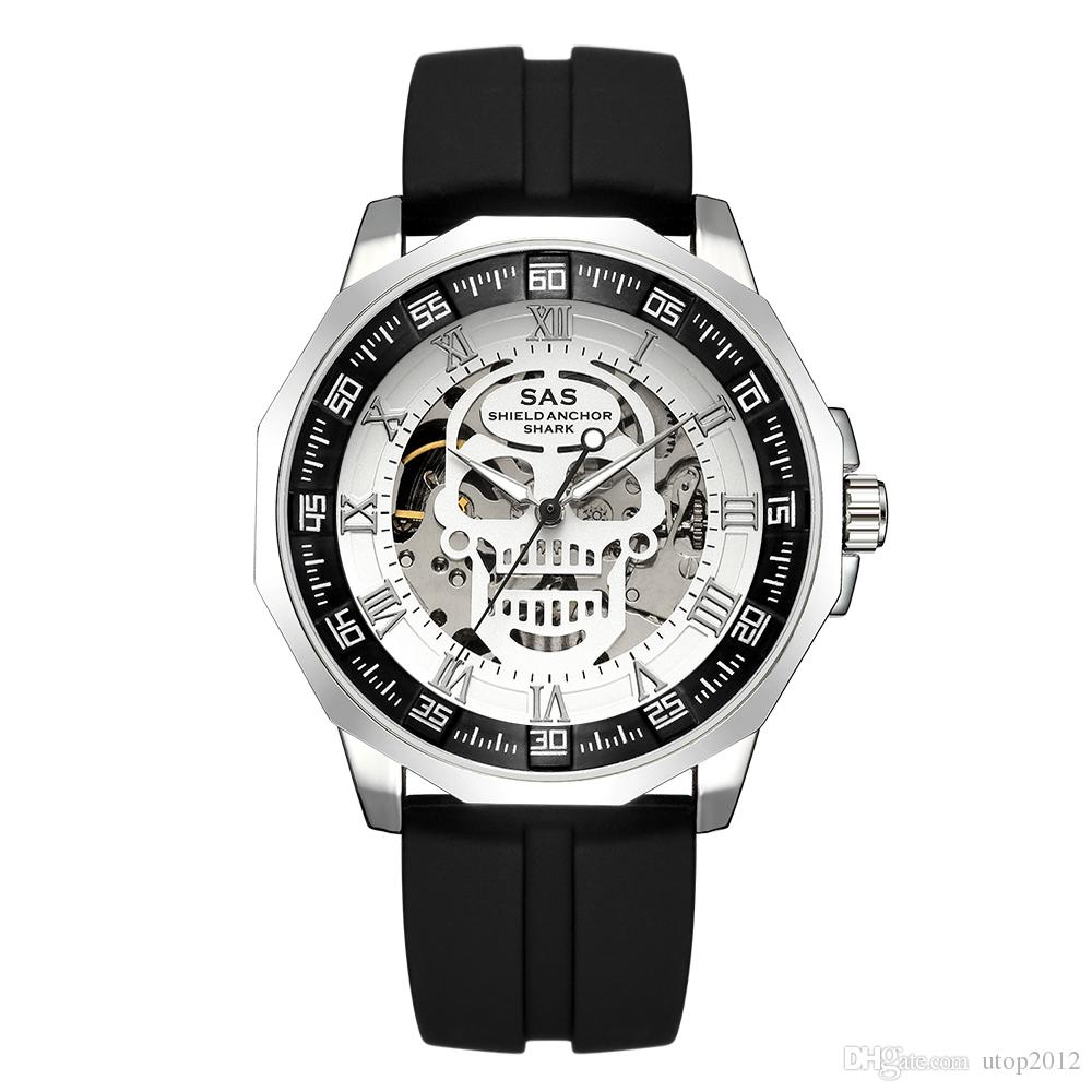 DHL Wholesale SAS Shield Anchor Shark Mens Sport Watch Mechanical Automatic Skeleton Military Wristwatch Watches Top Brand Luxury Silicone