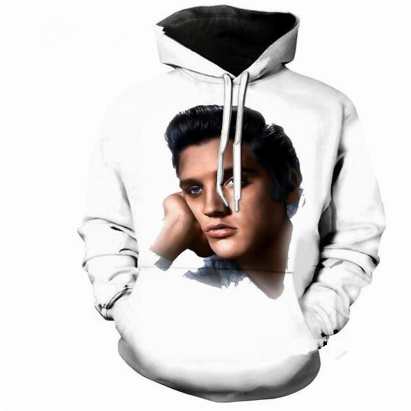 Yeni Moda Erkekler / Kadınlar Elvis Presley Kral Kaya 3D Komik Baskılı Crewneck Kazak Hoodies Moda Rahat Hoodies H269