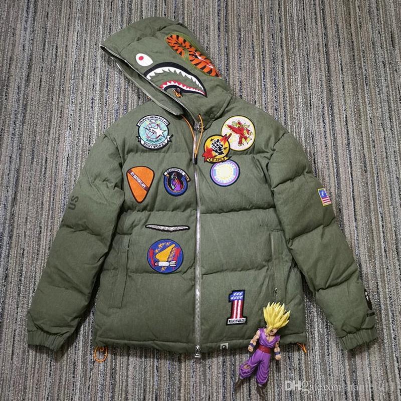 Hazır X Ape Köpekbalığı HeadHooded Pamuk Ceket Günlük Sade Nakış rozeti Kış Coat Erkekler Kadınlar HFLSJK254