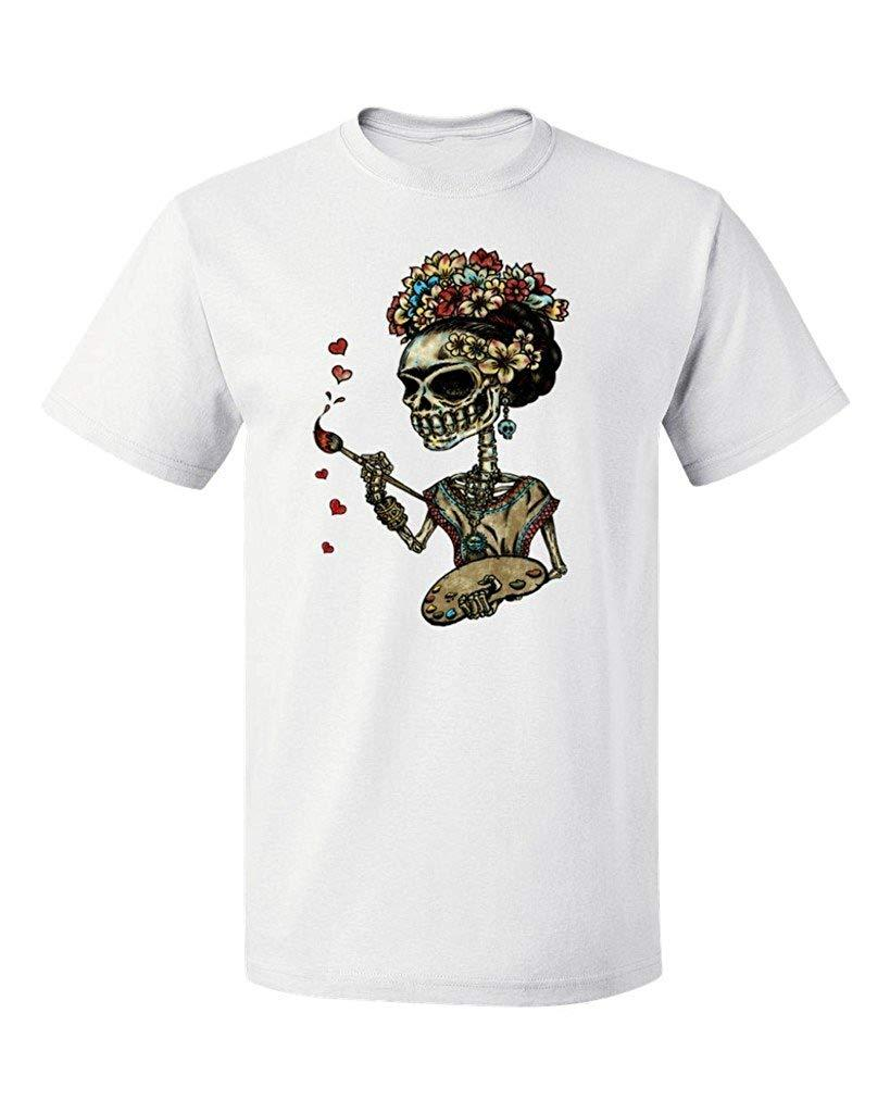 Dia do PB do t-shirt dos homens inoperantes do crânio do açúcar do artista