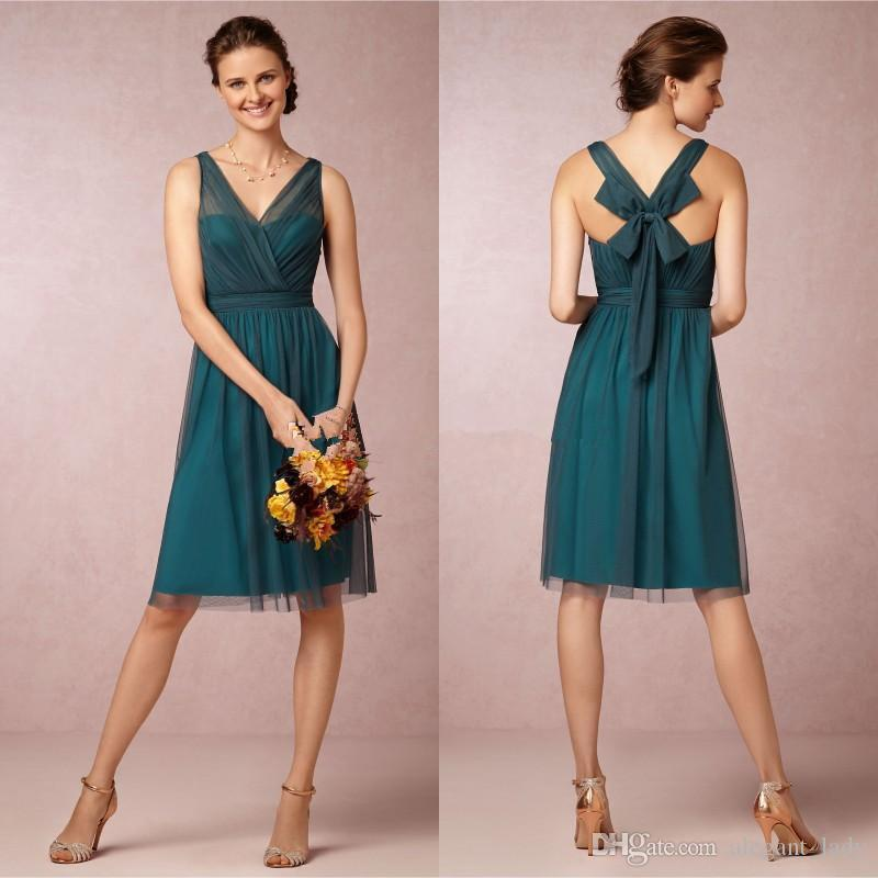 A Line V neck Knee Length Teal Color Bridesmaid Dresses 2018 Short Vintage Tulle Satin Bow Back short junior Cocktail Party Gowns