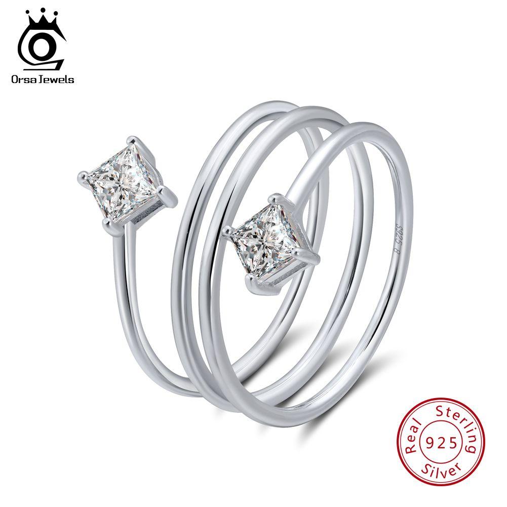 Орса JEWELS Real 925 Sterling Silver зубец Установка Модные серебряные Обручальное кольцо Уникальный дизайн Женщины Кольца Женщины кольцо с каменным SR61