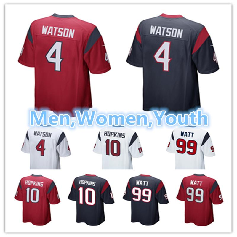 finest selection 374cf c0260 2018 Men Youth Women Houston Texans Jerseys 4 Deshaun Watson 10 Deandre  Hopkins 99 Jj Watt White Red Blue Football Jersey From Ball_jersey, $16.19  | ...
