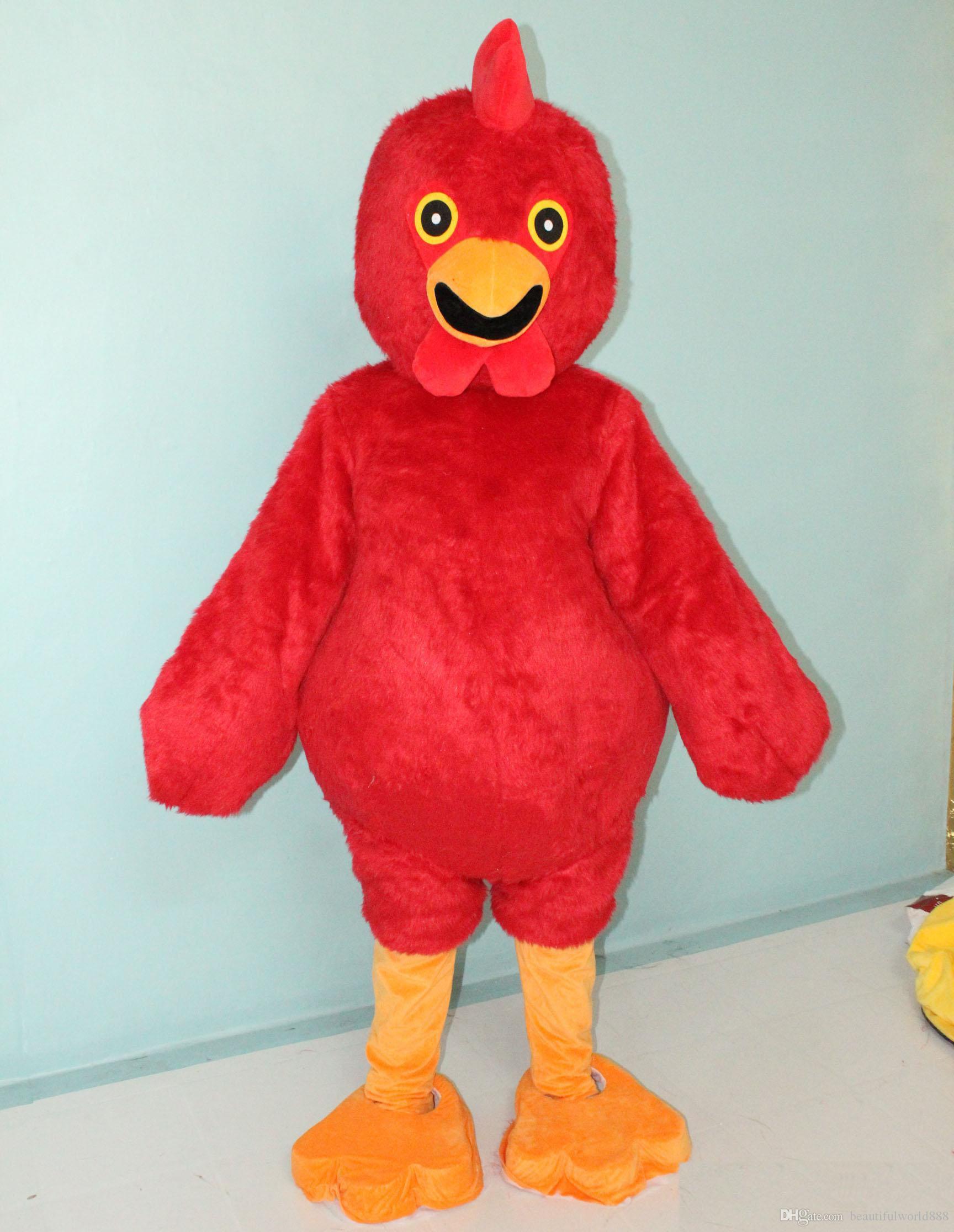 2018 vestito da gallina vestito costume della mascotte del pollo di colore rosso caldo di alta qualità per gli adulti da indossare in vendita