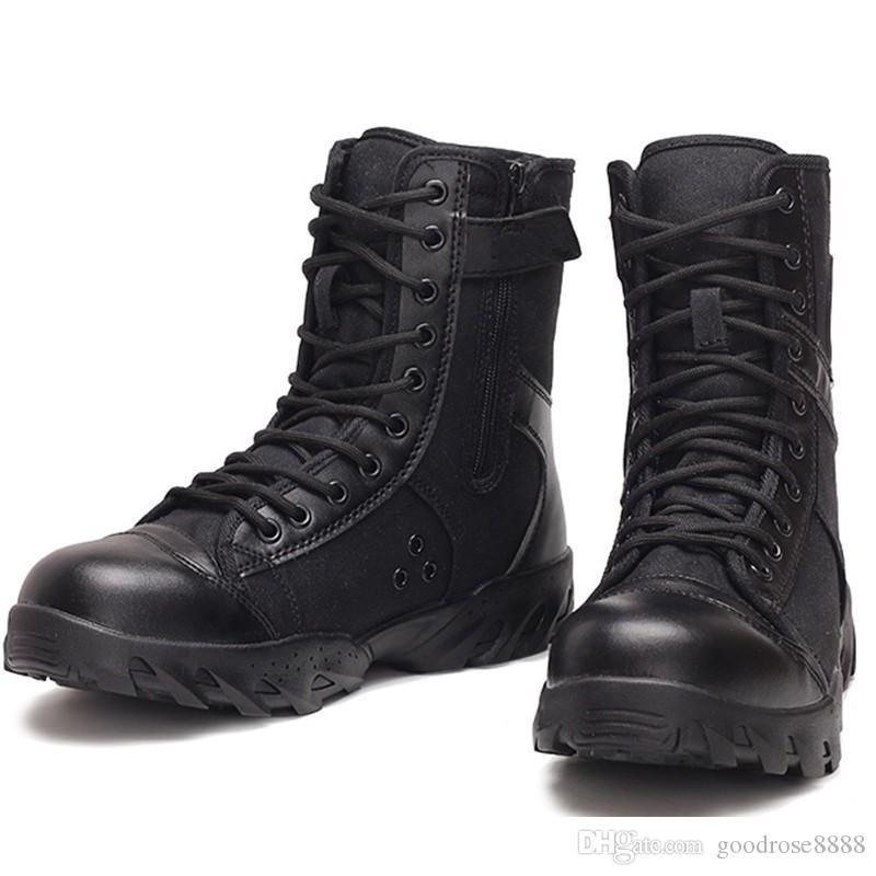 أحذية الصيف تنفس قماش أسود الجيش القتالية الأحذية الرجال القوات الخاصة الجانب أحذية عالية الحراسة الأمنية الأحذية التكتيكية