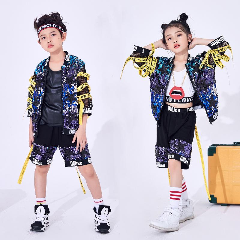 Children Girl Boy Hip Hop Costume Sequins Glitter Jazz Street Dance Costume Baseball Clothes Coat Shorts For Kids DL2464