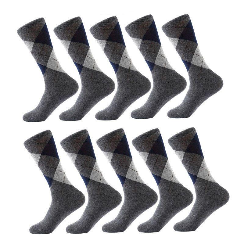 10 paires / lot chaussettes pour hommes couleur unie coton spandex chaussettes Argyle Motif Crew Chaussettes pour les affaires robe Casual drôle long tricoté chaussette