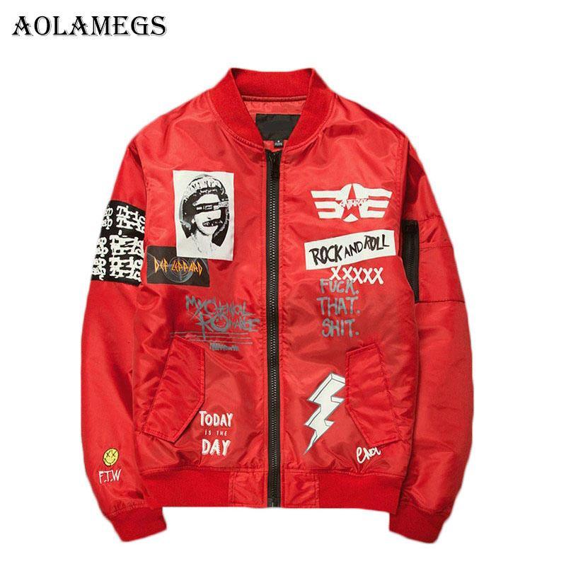 Aolamegs Jacket Men Print plus Größen-beiläufige Stehkragen Bomberjacke Art und Weise Outwear Herren Mantel Bomb Baseball Jacken Neu