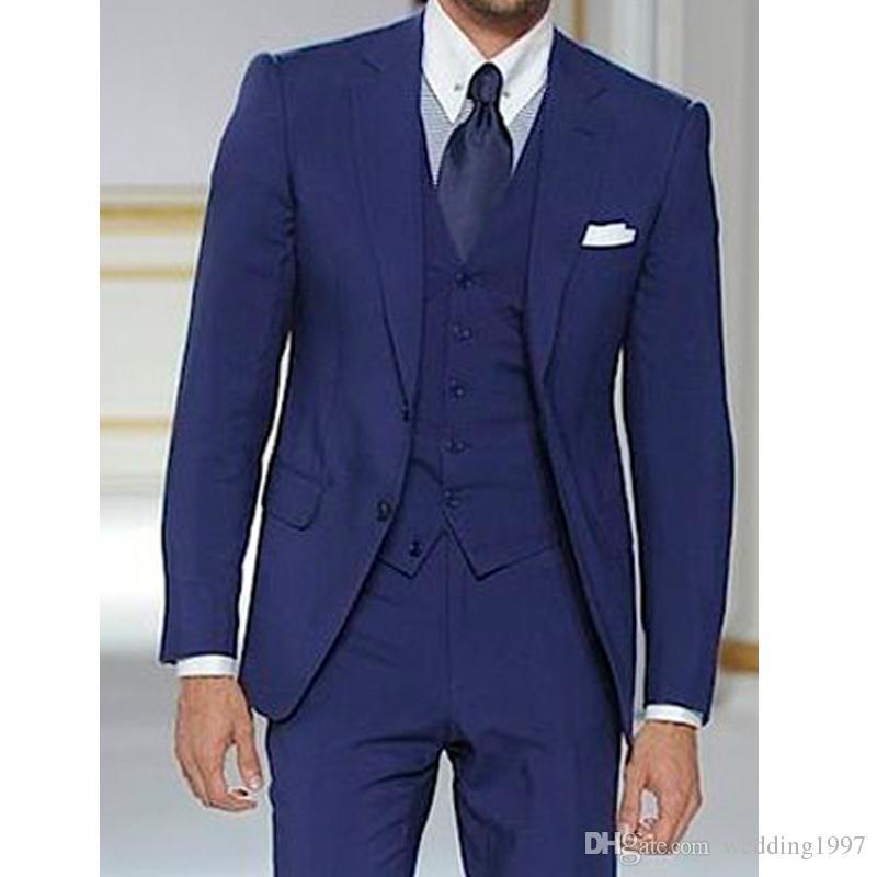 Royal Blue Formalne Męskie Garnitury Dla Ślubu Groom Tuxedos Trzy kawałek Kurtka Spodnie Kamizelka Najnowsze Styl Man Blazer