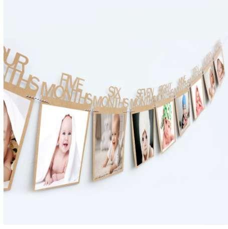 Primer fotograma de fotos de cumpleaños 1-12 meses Marco de fotos del bebé Ducha del bebé titular de la foto Decoración de la habitación del regalo de cumpleaños de los niños