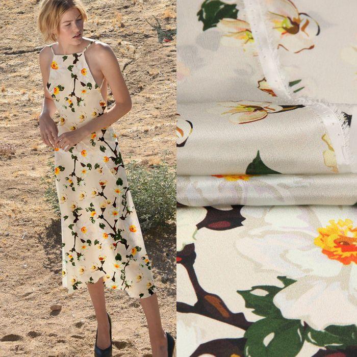 135CM Large 12MM Petit Jaune Floral Print Thin Silk Crepe De Chine Tissu pour L'été Robe Chemise Vêtements Cheongsam D882