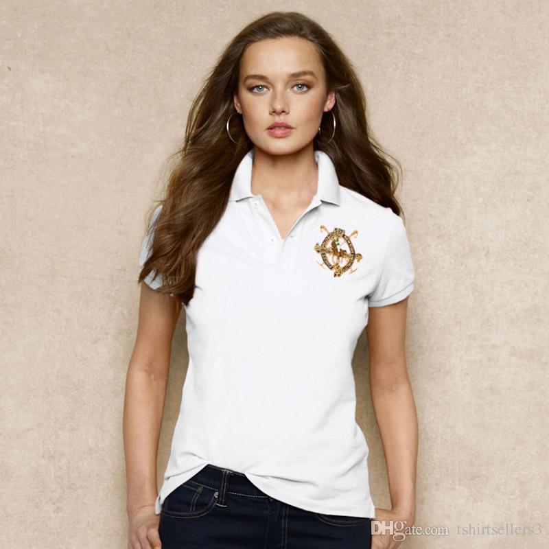 무료 배송! 2018 년 신작 영국 스타일 뉴 브랜드 100 % 코튼 반팔 여성 슬림 폴로 셔츠. 출하 배송비