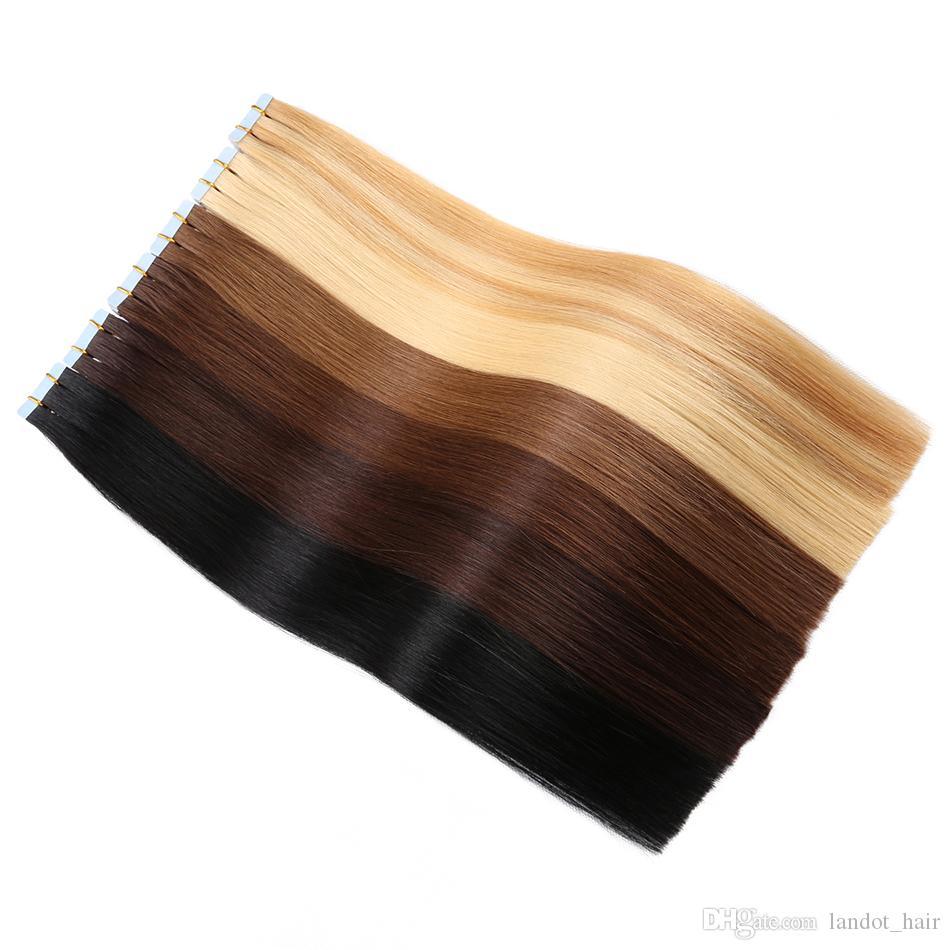 최상 10A 150g 사람의 모발 연장 가득 차있는 표피에있는 처녀 레미 테이프 본래 브라질 페루 인도인 말레이시아 피부 씨실 PU 테이프 머리