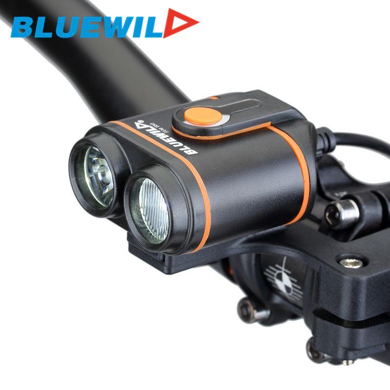원래 BLUEWILD B50 자전거 전면 조명 배 L2 자전거 램프 자전거 자전거 LED 라이트 USB 충전 방수 12000mAh 배터리 팩