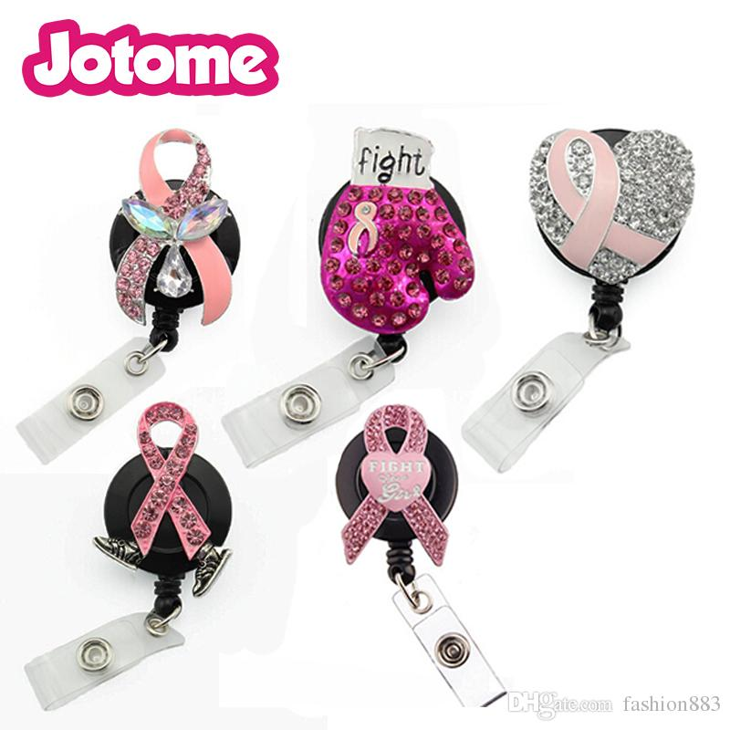 In stock RN style brooch medical retractable card holder nurse Breast Cancer Awareness pink ribbon Id working holder