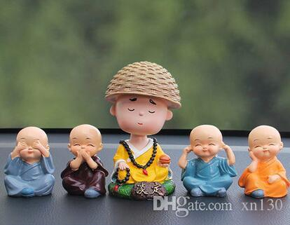 Four young monk car ornaments 4 car security safe jewelry cute shaking head decoration supplies