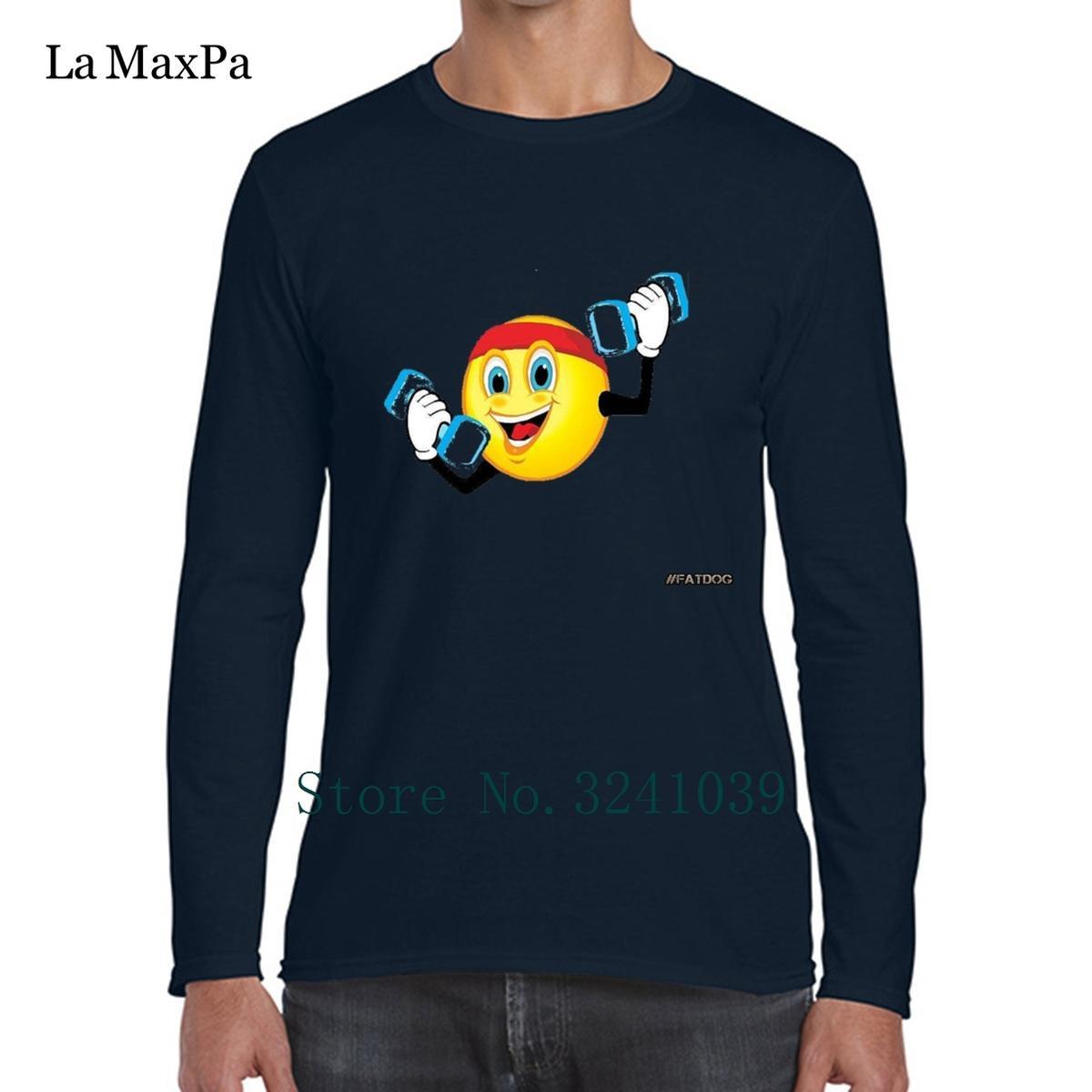 La Maxpa характер новое прибытие Юмор тренировки смайлик мужская футболка фирменных 2018 Мужская футболка взрослых О-образным вырезом футболка поп топ