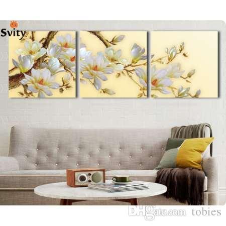 3 패널 현대 3D 흰색 난초 꽃 캔버스 벽 아트 Cuadros 꽃 그림 홈 장식 거실 없음 프레임
