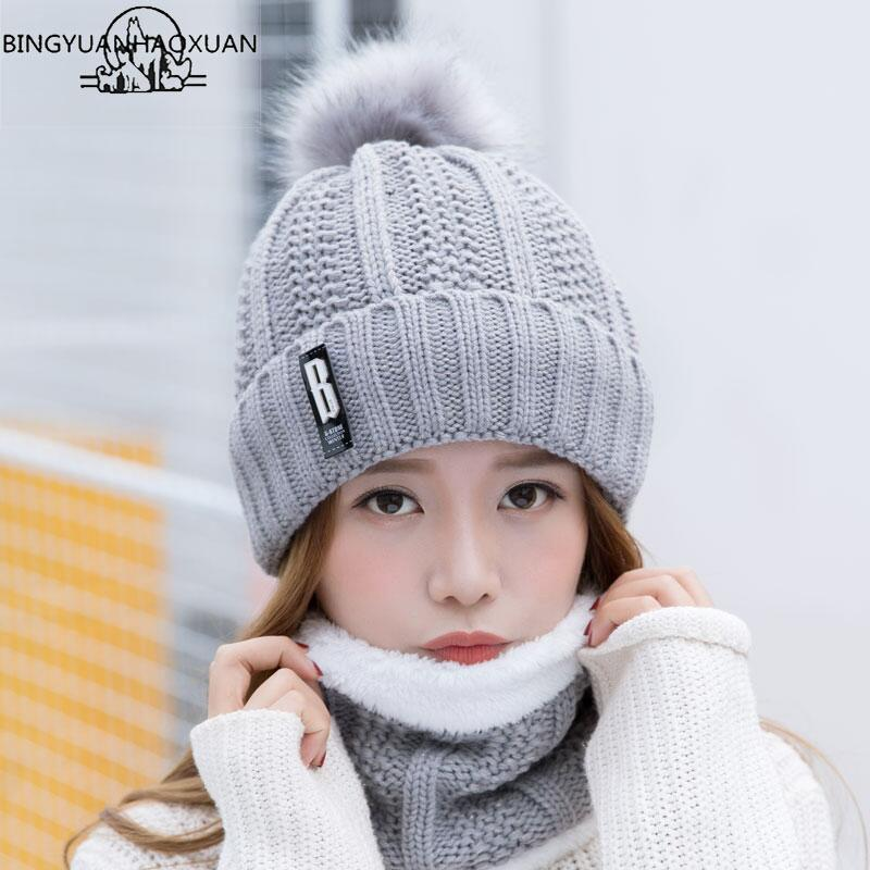 BINGYUANHAOXUAN B letters knitted Hat Women Brand High Quality Winter Women Ball Ski Rabbit Fur Hat PomPoms Hats knitted scarf Y18110503
