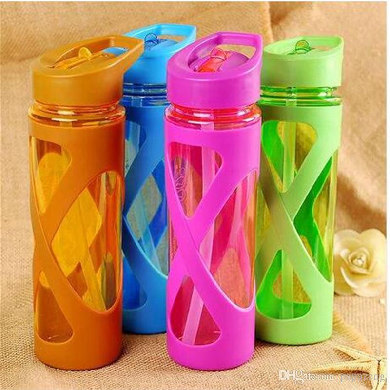 Бесплатные оптовые продажи питья напиток чашка соломенный рукав доставка пластиковая бутылка герметичная силиконовая вода с HPKDS