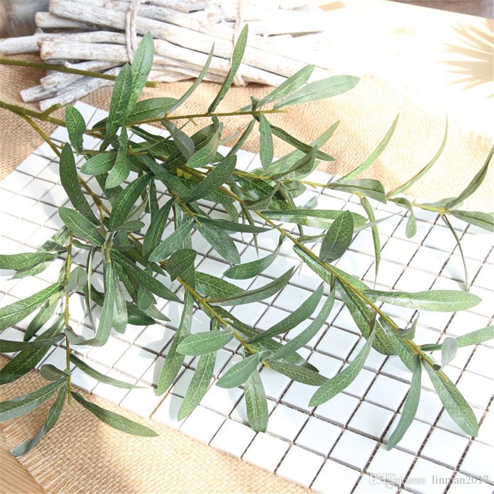 103 سنتيمتر الاصطناعي الأخضر الزيتون فرع الحرير النباتات وهمية الخضرة العشب بوش حفل زفاف حديقة ديكور المنزل فرع الشتاء الطازجة