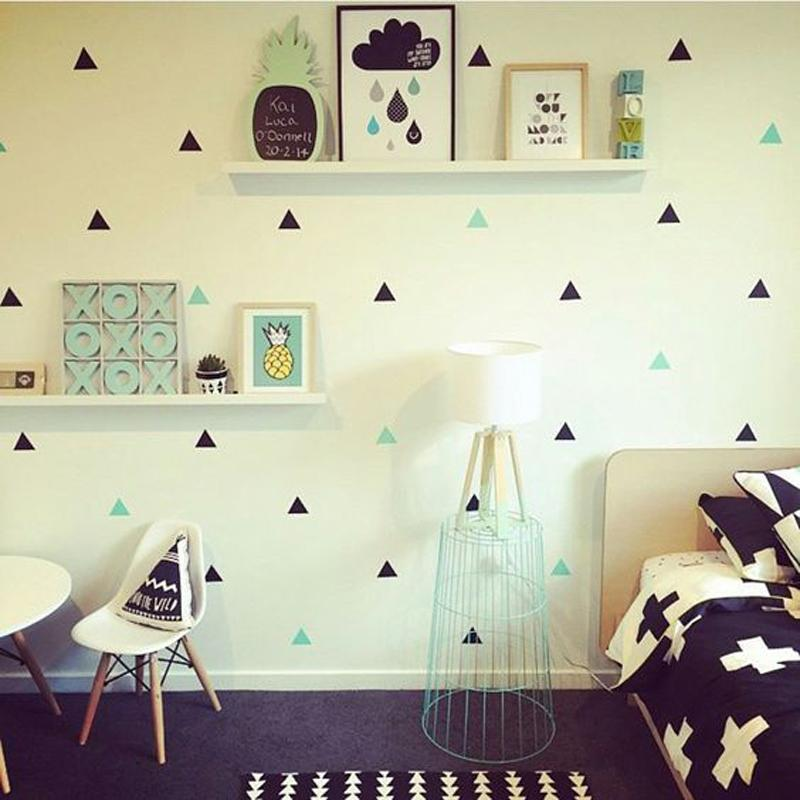 Gold Triangles Wall Sticker Removable Home Decor Art Wall Decals Small Baby Wallpapers Geometric Nordic Triangle Stickers