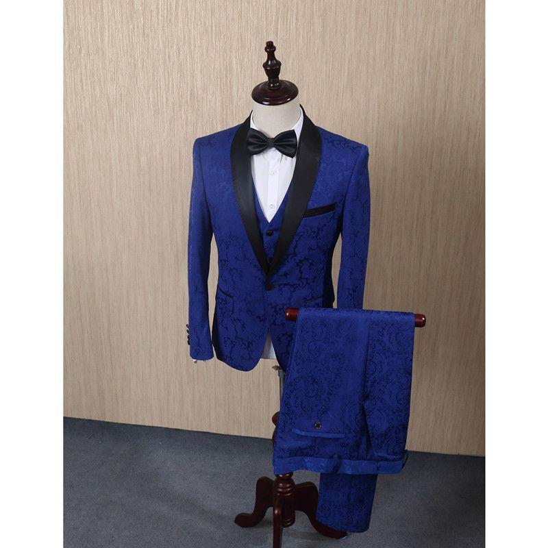 FOLOBE Blue Jacquard Men Suits For Wedding Groom Tuxedos Mens Suits Groomsmen Suit Formal Business 3PCS Jacket+Vest+Pants