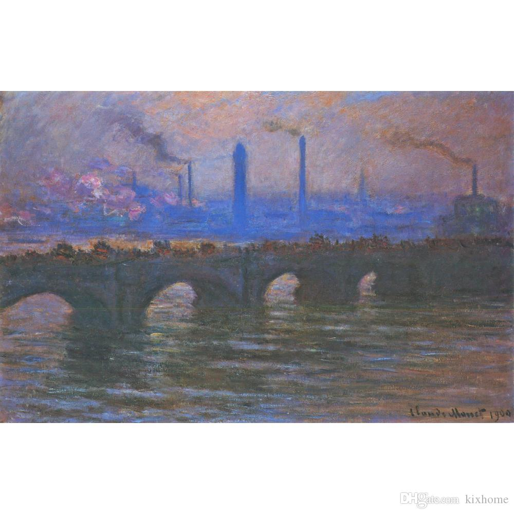 Arte moderno Waterloo Bridge Overcast Weather Claude Monet pinturas al óleo lienzo decoración de la pared pintada a mano