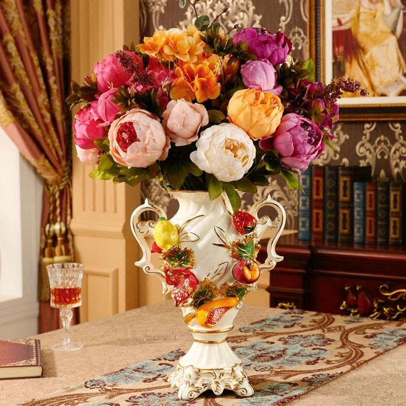European Luxury Ceramic Vase Ornament Decoration Home Retro Desktop Flower Arranger Fake Dry Flowerpot Wedding Gift Figurines