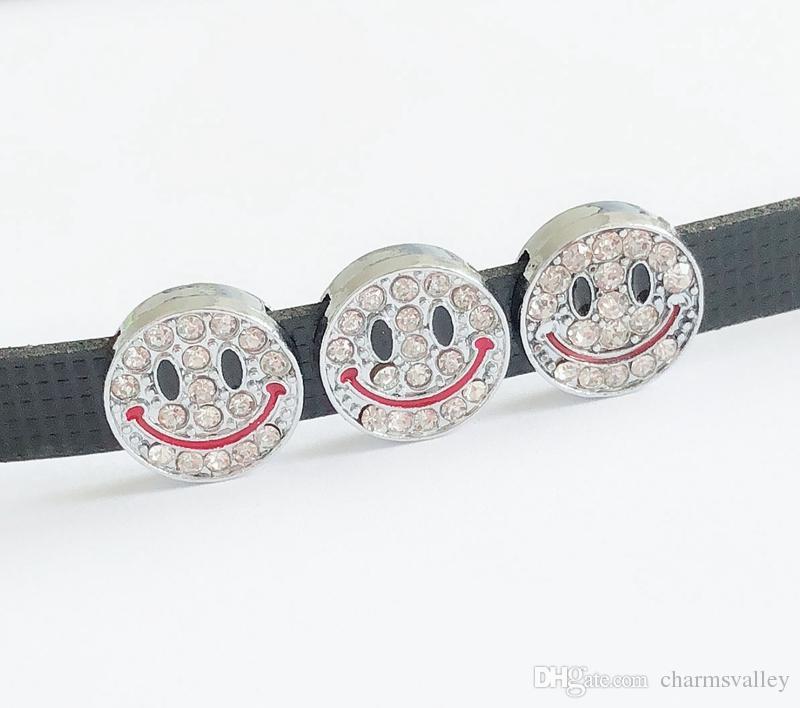 30PCs 8MM completa strass Sorriso fascini dello scorrevole del fronte Lettere fai da te accessori Fit 8 millimetri Braccialetti del collare dell'animale domestico Nome Cinture Tag