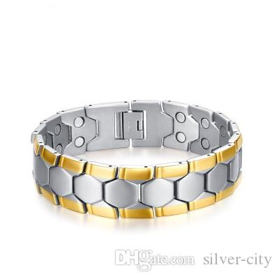 Drop shipping brand new top quality men's stainless steel bracelet magnets germanium bracelets hematite fashion jewelry factory supplier 075