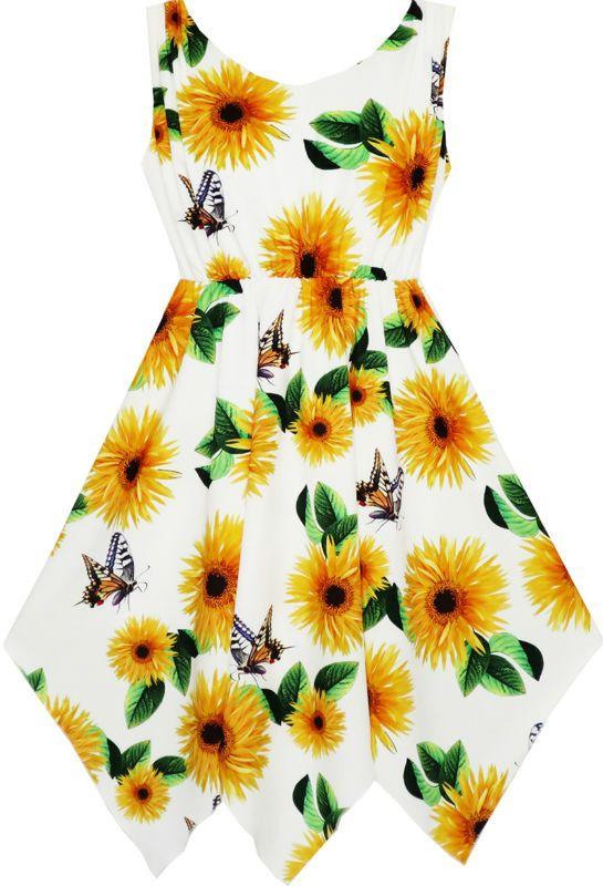 Sunny Fashion Girls Dress Sunflower Butterfly Hanky Hem Party Beach Necklace Sundress 2017 Summer Princess Wedding Size 7-14