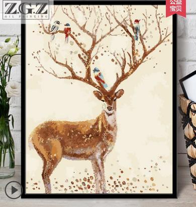 Çerçevesiz Renkli Geyik Hayvanlar Soyut Resim Tarafından Diy Dijital Boyama Numaraları Modern Duvar Sanatı Resim Ev Duvar Yapıt