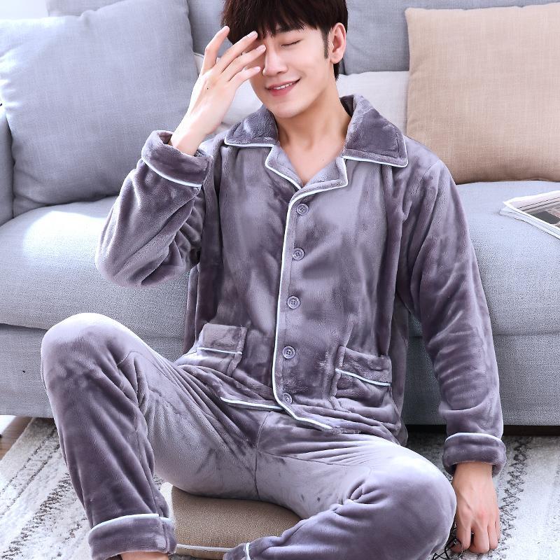 Sıcak Mercan kadife erkek Pijama Setleri erkek Rahat Pijama Pamuk Mercan Polar Pijama eşofman ücretsiz kargo
