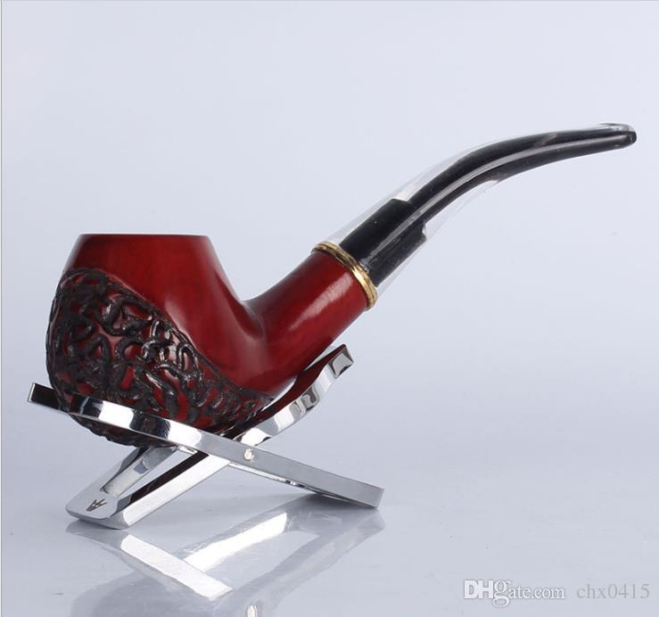 Creative white tail mahogany carving 8019 solid wood pipes, red sandalwood and metal rings detachable pipe.