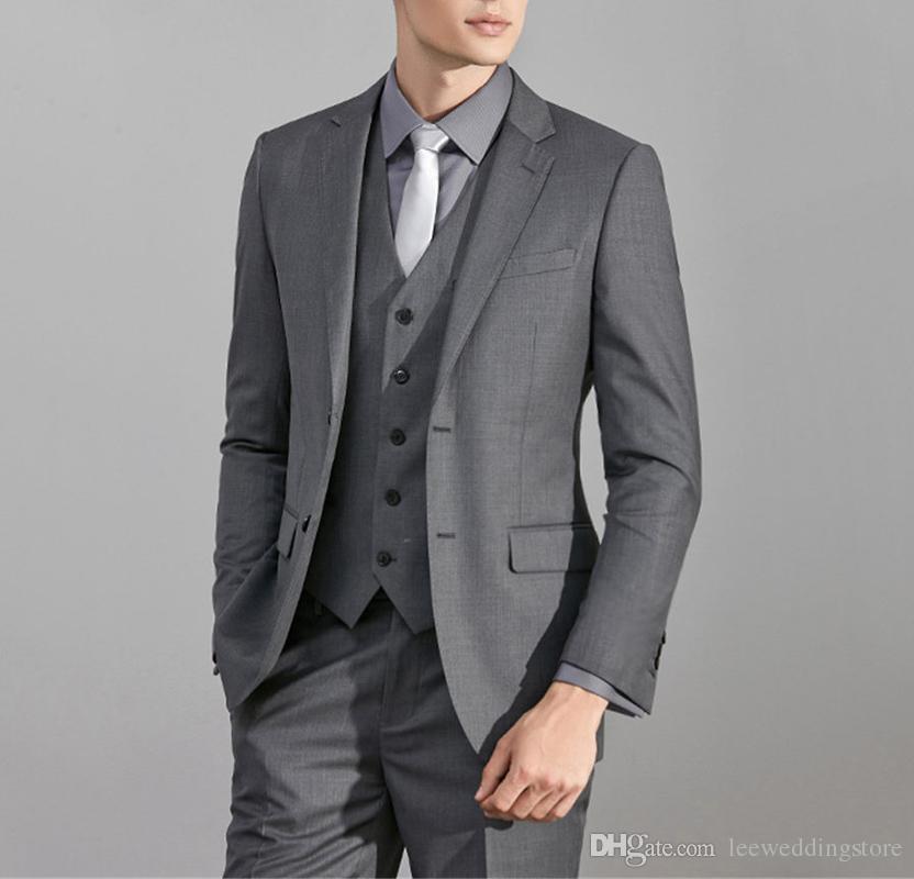 Handsome Custom Made Light Grey Best Man Suits Wedding Suits Slim Fit Formal Bridegroom 3 Pieces Terno Blazer Masculino (Jacket+Pants+Vest)