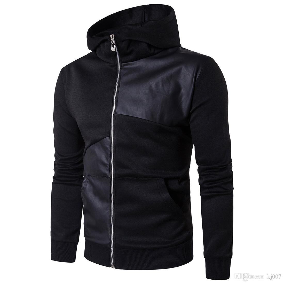 Men's Hoodies Long Sleeve Patchwork Hoodie Streetwear Turtleneck Pullover Hooded Cotton Leather Hip Hop Sweatshirt England Style Hot Sales