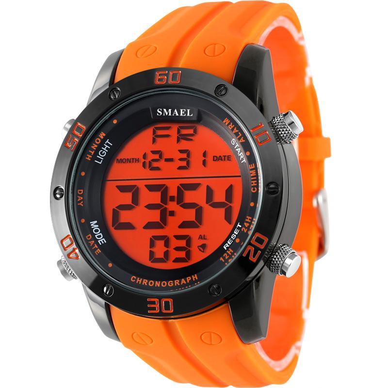 SMAEL Brand Mens Sports Watches Dive 50m Digital LED Military Watch Men Fashion Casual Electronics Quartz Wristwatches Hot Clock