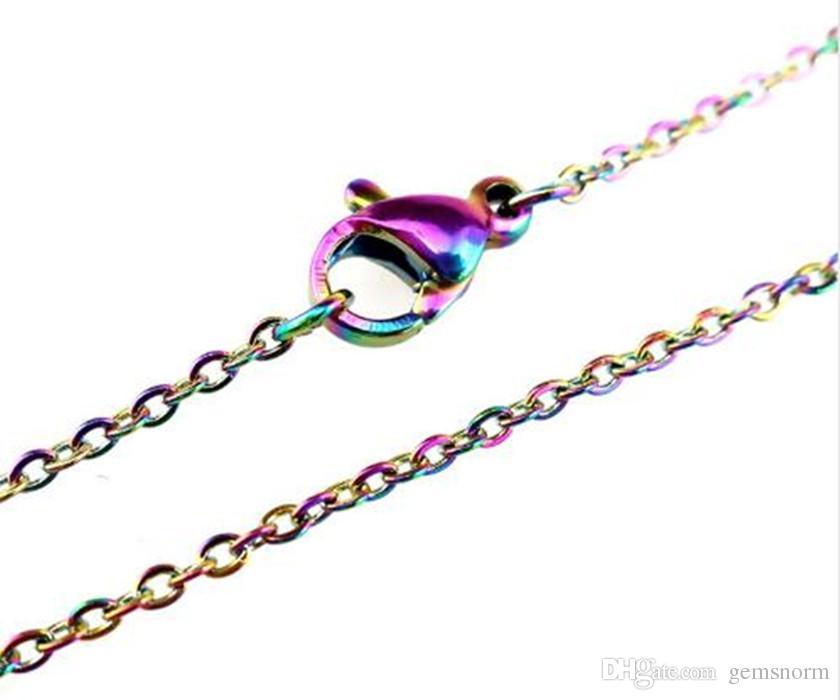 20 teile / los Regenbogen Farbe 1.6mm Edelstahlketten Halskette Regenbogen Farbe 18 '' / 20 zinches link kette schmuck machen sc003