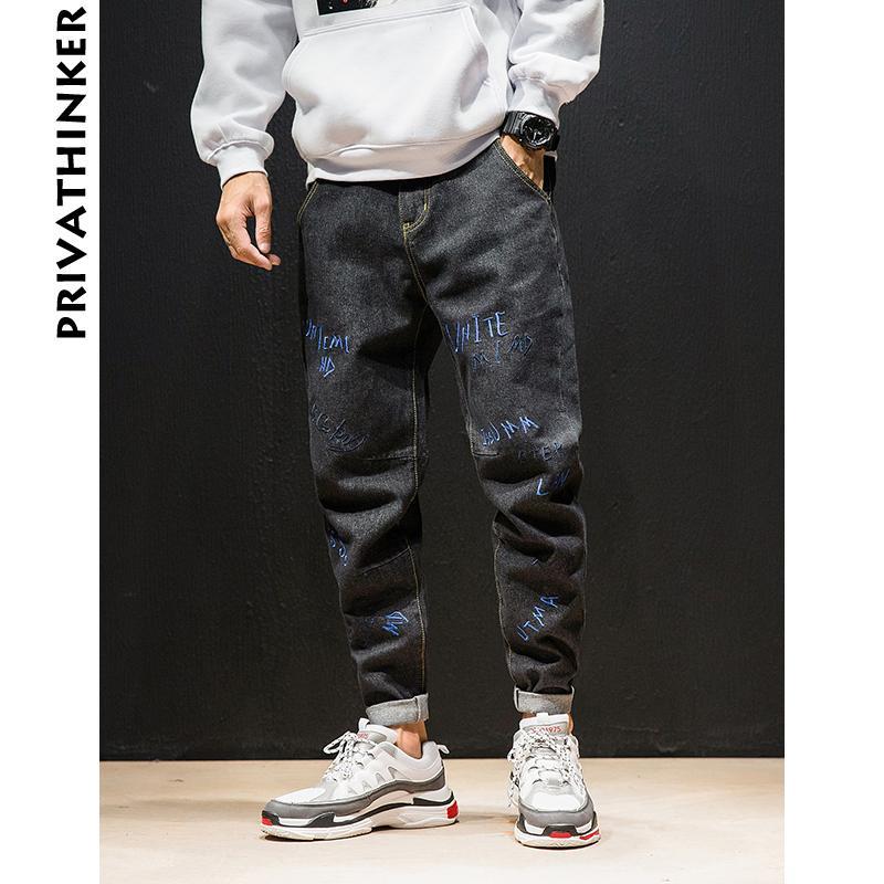 Letter Embroidery Jeans Pants Men 2018 Designer Mens Streetwear Black Jeans Pants Male Fashions Casual Denim