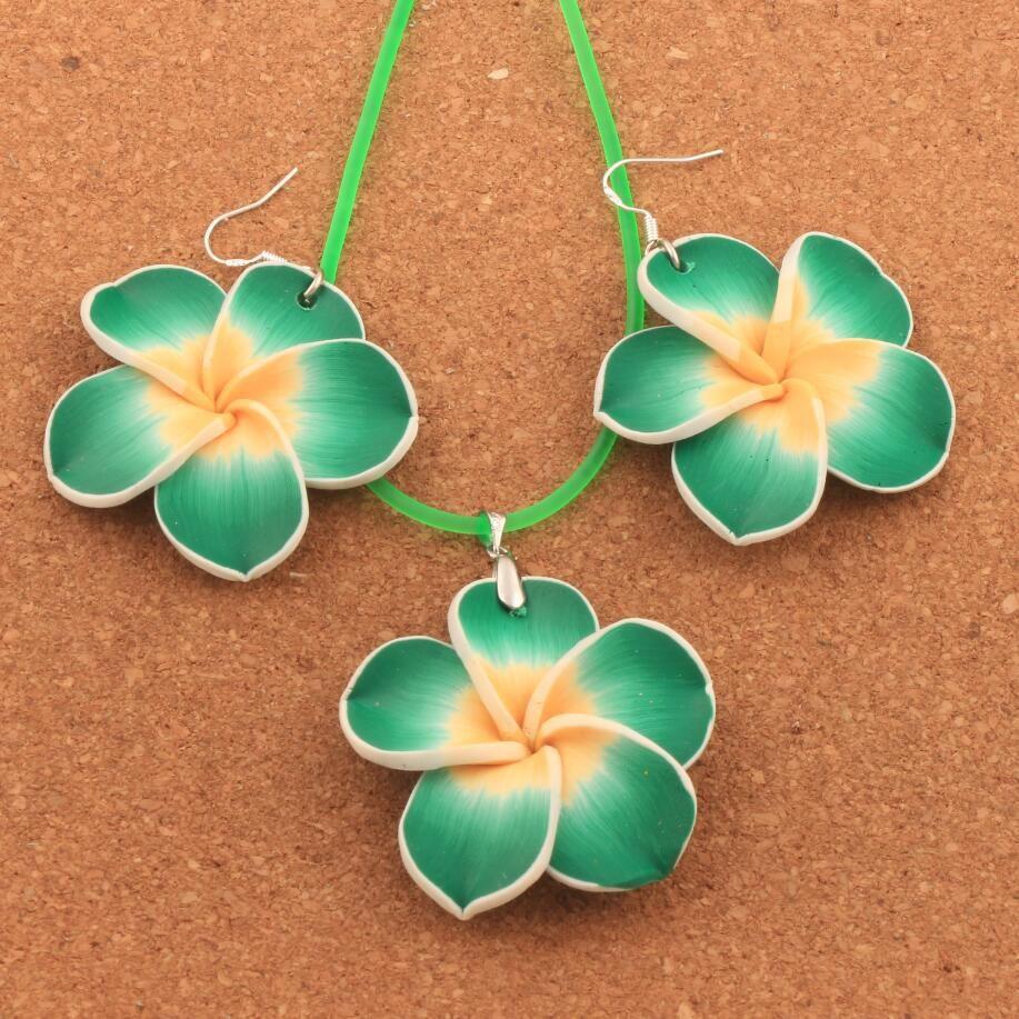 Blau czos88 Hawaii Plumeria Blumen Schmuck Sets Fimo Ohrringe Halskette Anh/änger Rot Free Size