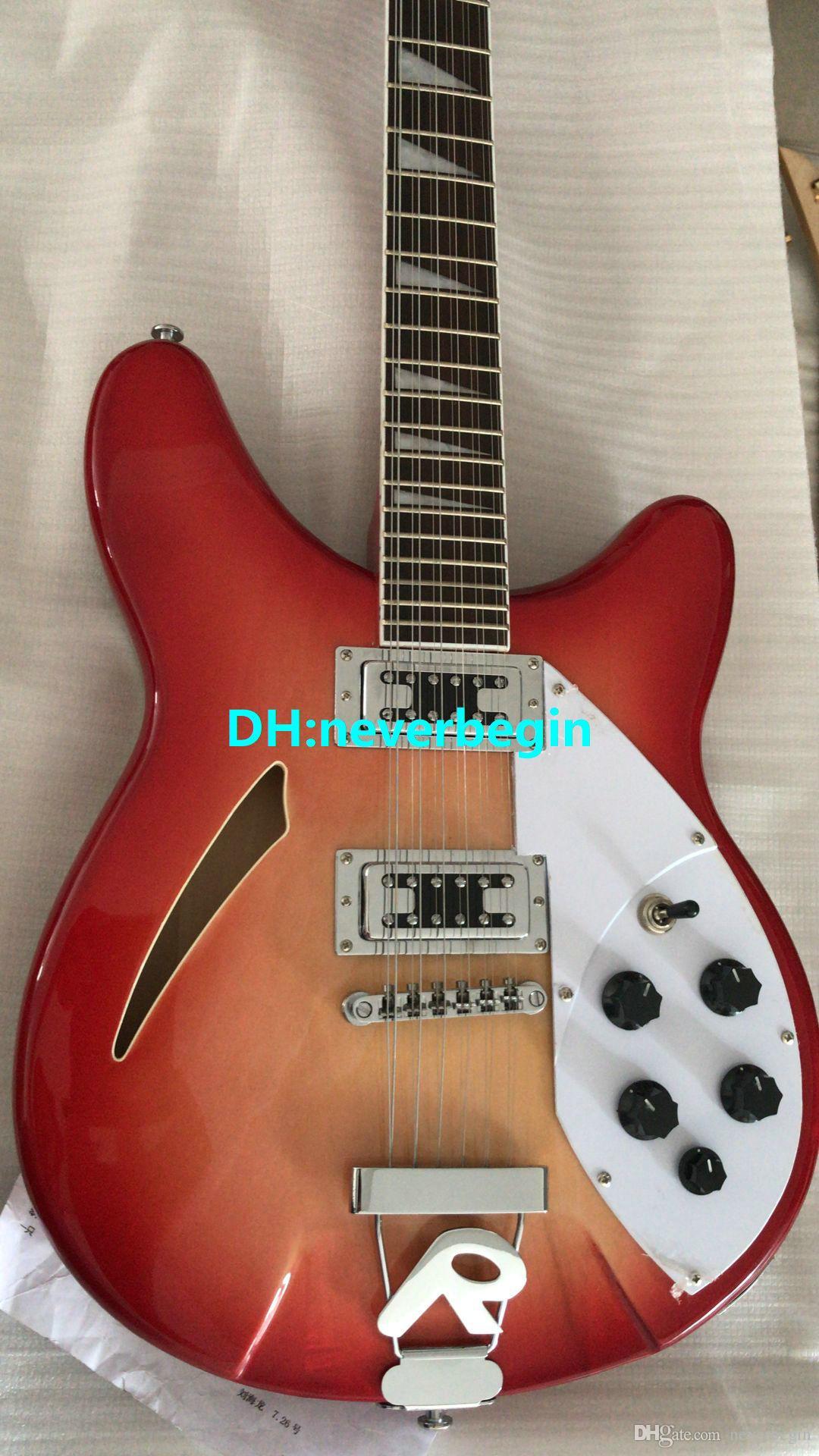 Chitarra elettrica all'ingrosso Deluxe modello 360/12 STRING chitarra elettrica Semi Hollow Cherry Burst Cina chitarra fabbrica