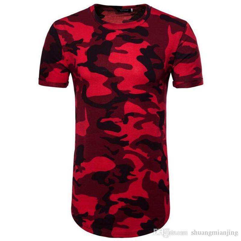 Moda estate dimensione europea camouflage maglietta degli uomini hip hop t shirt high street mens t-shirt harajuku lungo tratto camisetas hombre