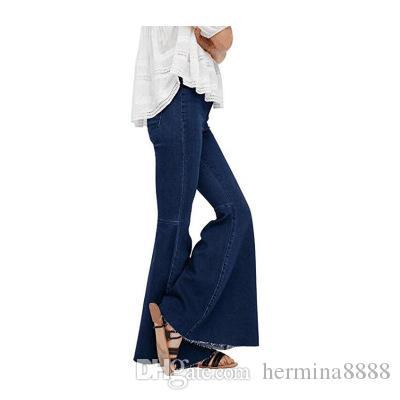 2018 봄 가을 넓은 다리 악세사리 플레어 청바지 여성 빈티지 슬림 데님 의류 2018 Vintage Bell Bottom Jeans